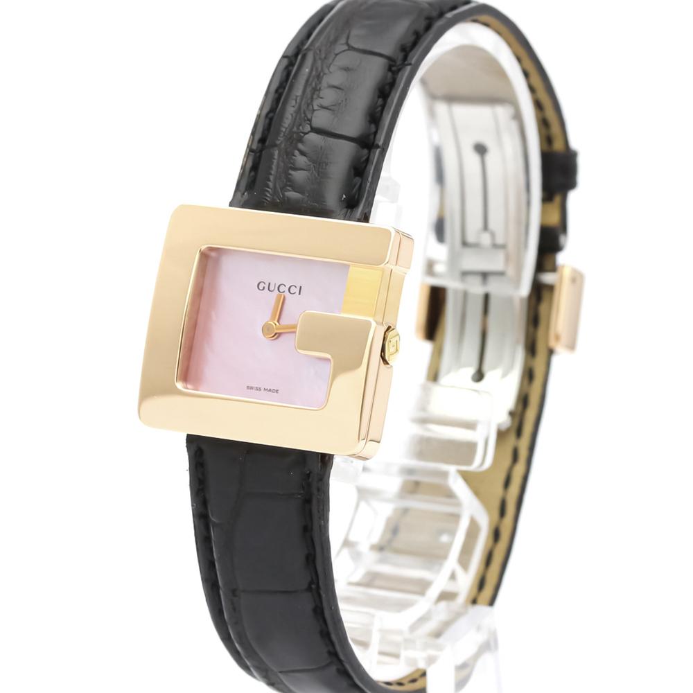 Pre-owned Gucci Pink 18k Yellow Gold 3600l Quartz Women's Wristwatch 23 Mm
