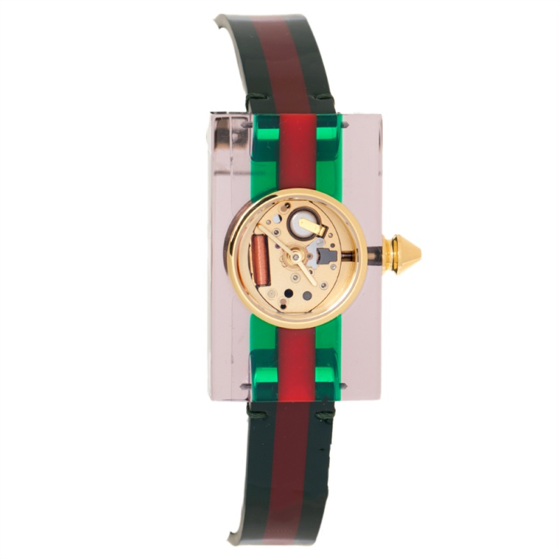 Pre-owned Gucci Skeleton Plexiglass Gold Plated Stainless Steel And Leather 143.5 Women's Wristwatch 24 Mm In Green