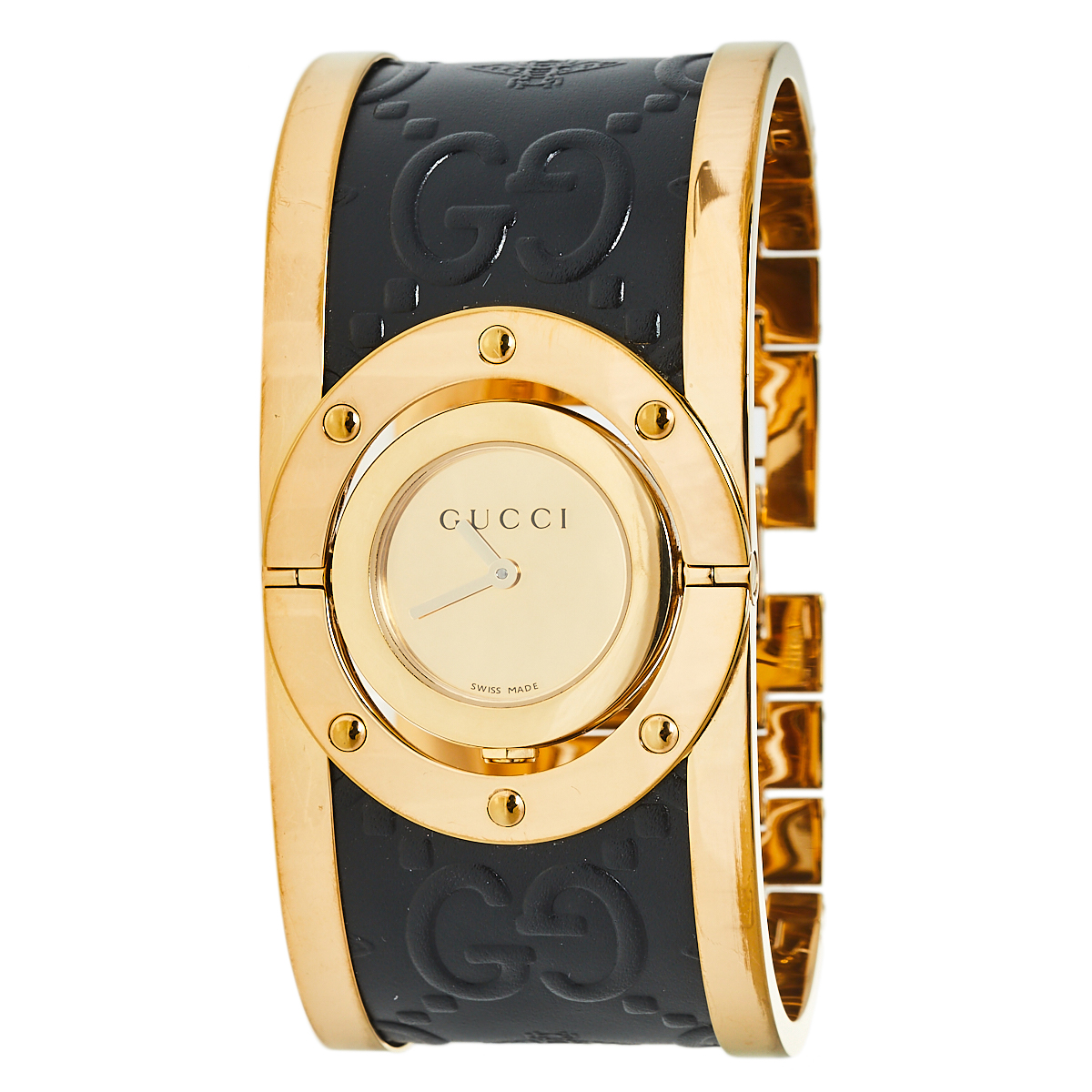 Pre-owned Gucci Gold Pvd Stainless Steel Twirl Ya112444 Women's Wristwatch 23 Mm