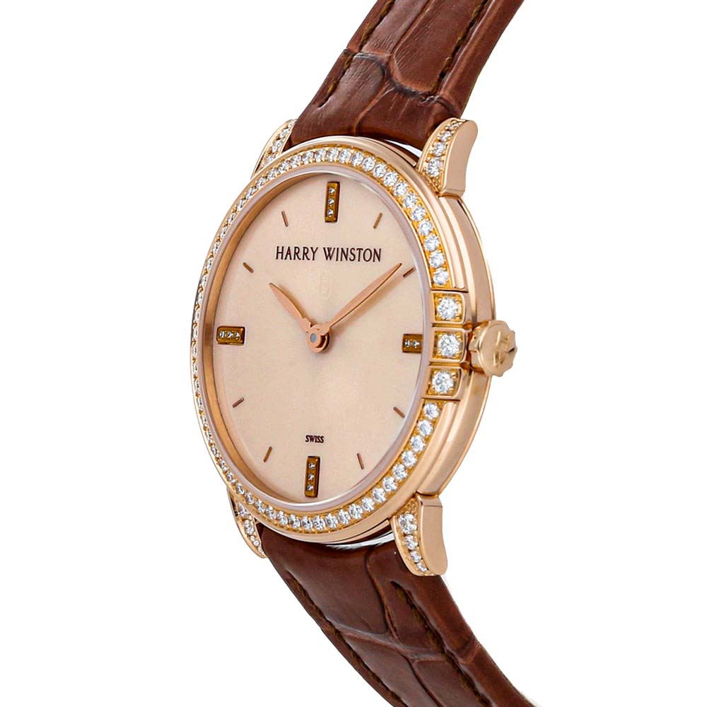 Harry Winston Champagne Diamonds 18k Rose Gold Midnight 450/LQ32RL.W1/D3.1 Women's Wristwatch 32 MM