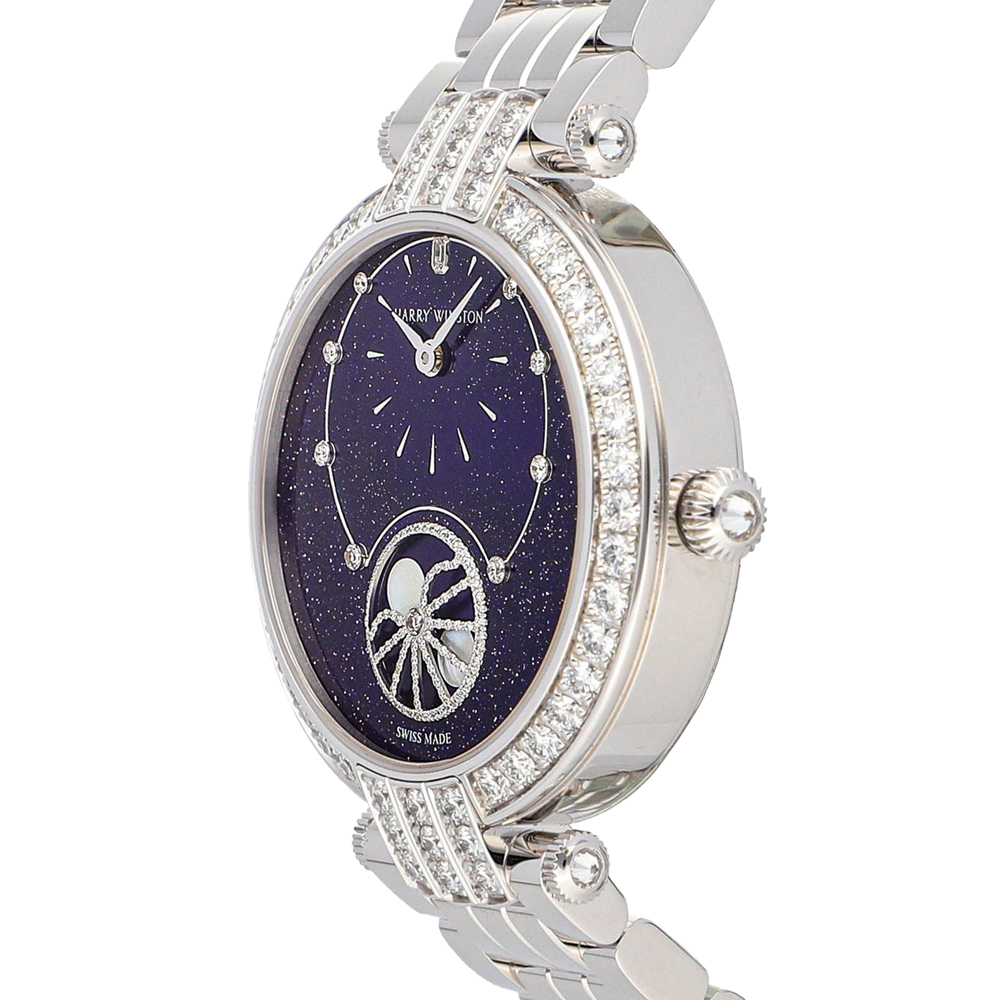 Harry Winston Blue Diamonds 18K White Gold Premiere Precious Moon Phase PRNAMP36WW002 Women's Wristwatch 36 MM