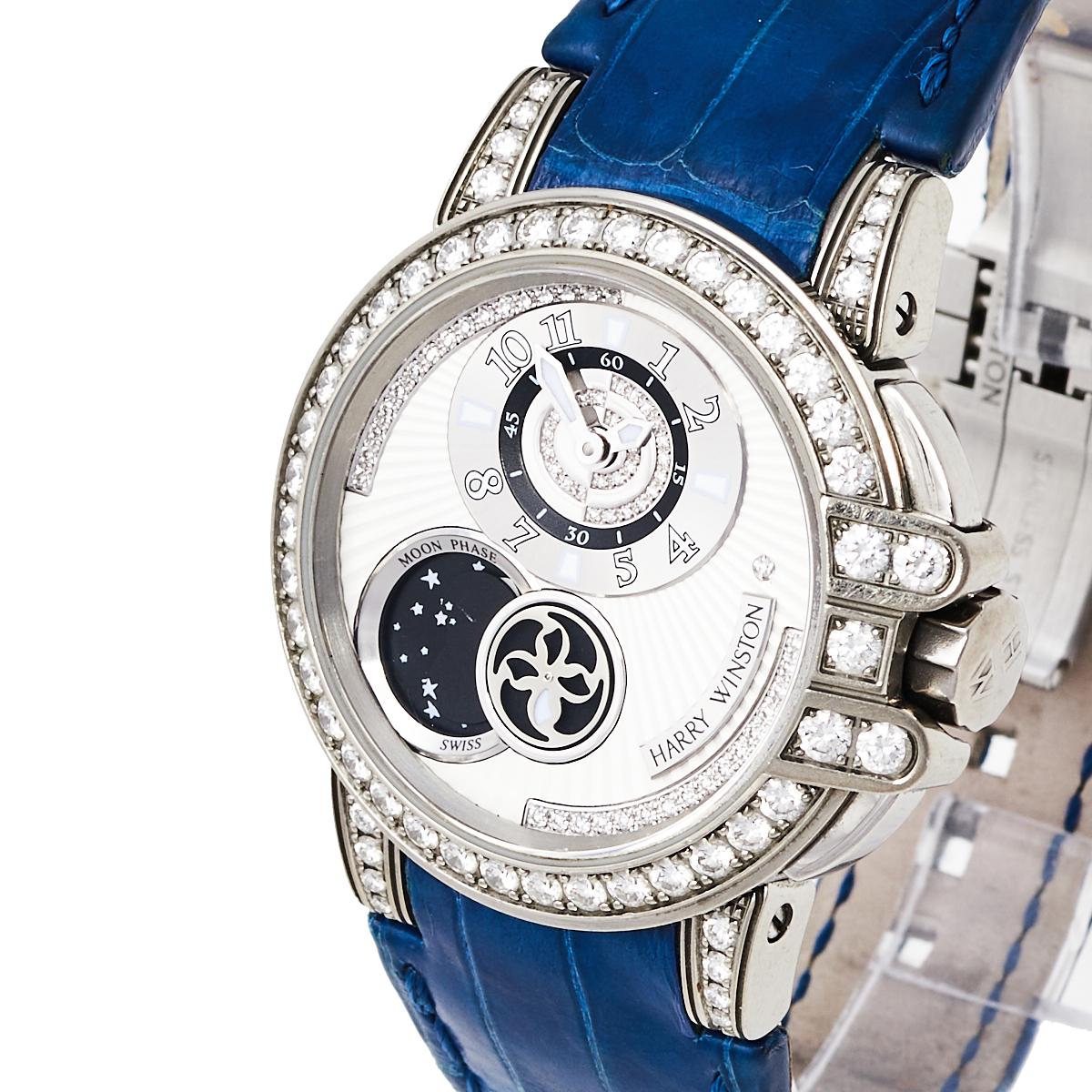 Harry Winston Silver Zalium Leather Diamond Ocean Lady Z Moonphase 400-UAMP36Z Women's Wristwatch 35 mm