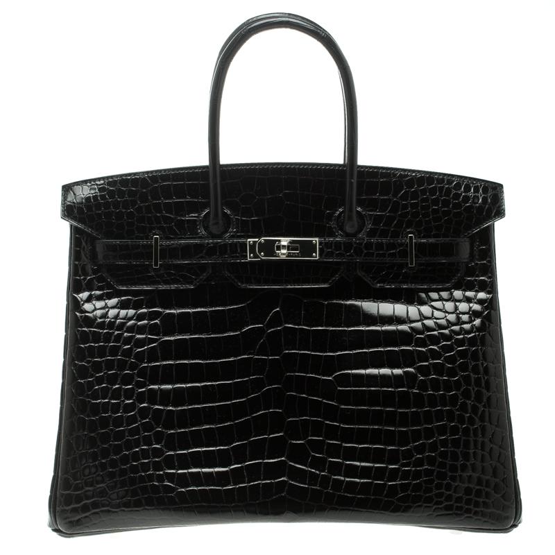 Hermes Black Porosus Crocodile Palladium Hardware Birkin 35 Bag