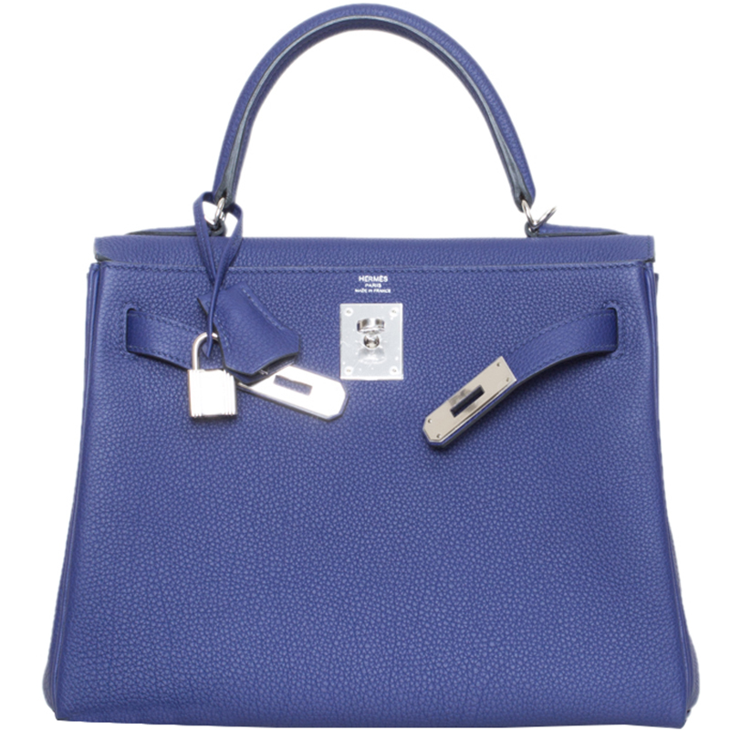 Hermes Blue Encre Togo Leather Palladium Hardware Kelly Retourne 28 Bag