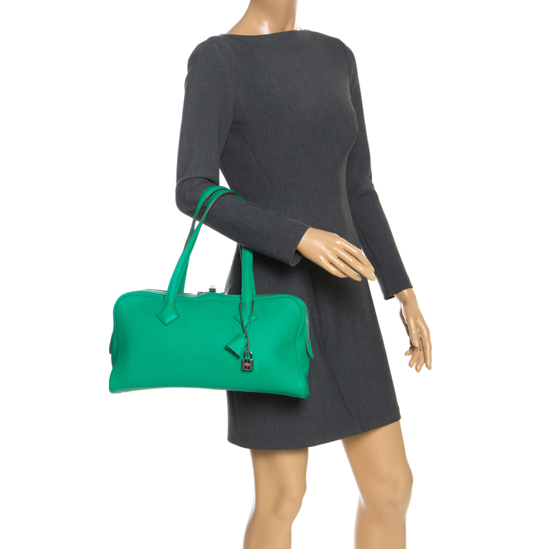 Hermes Bamboo Clemence Leather Victoria II Bag, Green