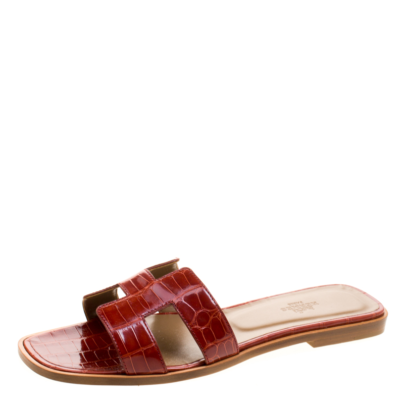 Buy Hermes Brick Red Alligator Leather Oran Box Sandals