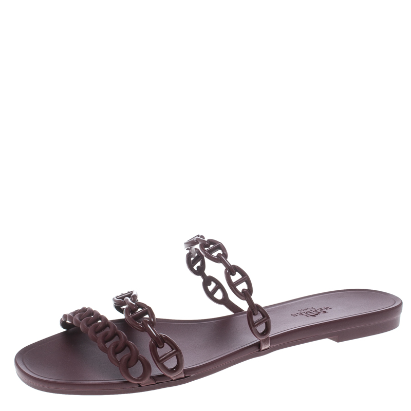 a81009262 Buy Hermes Burgundy Rubber D ancre Chaine Rivage Sandals Size 39 ...