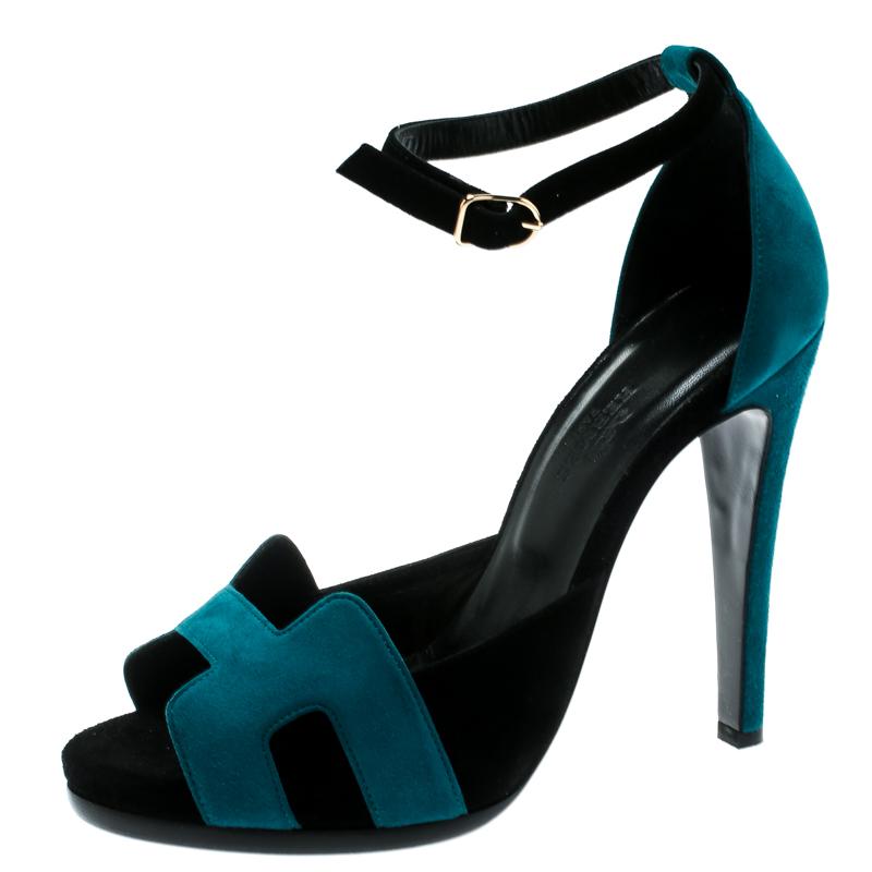 2799717355c Hermes Blue/Black Suede Highlight Ankle Strap Sandals Size 37