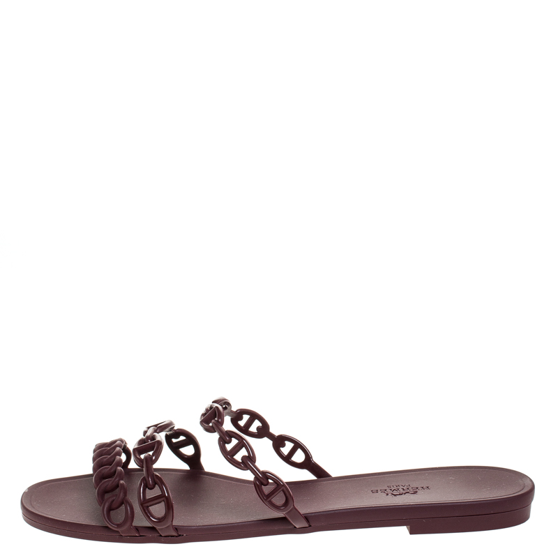 Hermes Brown Rubber Rivage Chain Detail Slip On Flats Size