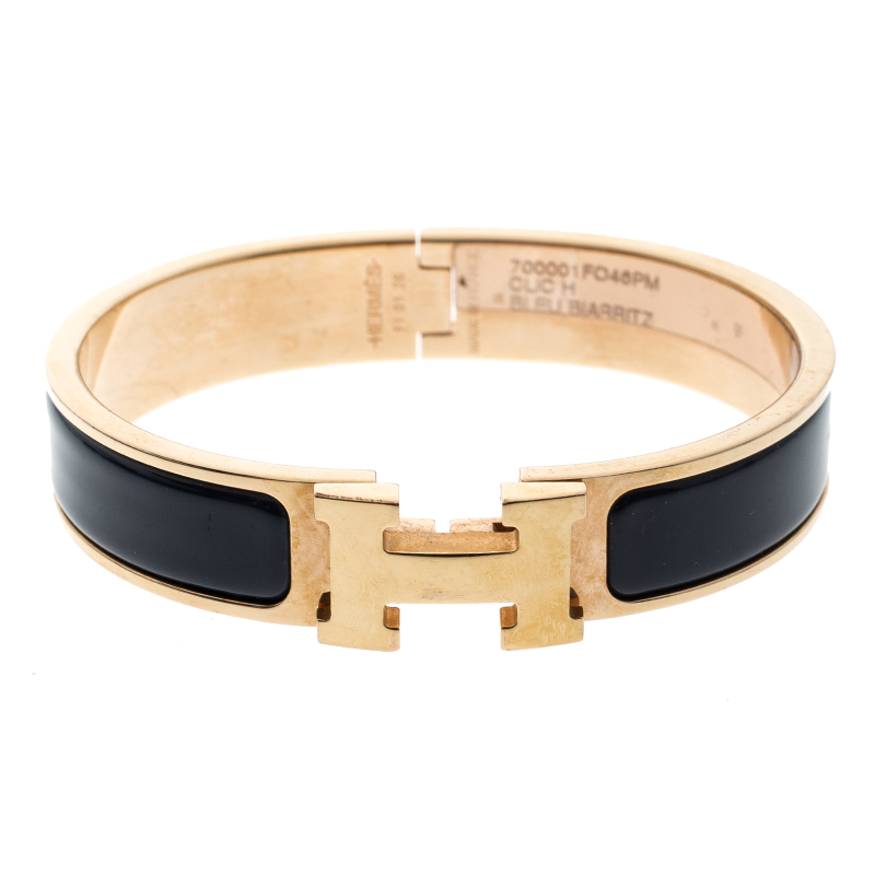 ... Hermes Clic Clac H Bleu Biarritz Enamel Rose Gold Plated Bracelet PM.  nextprev. prevnext beb531645be