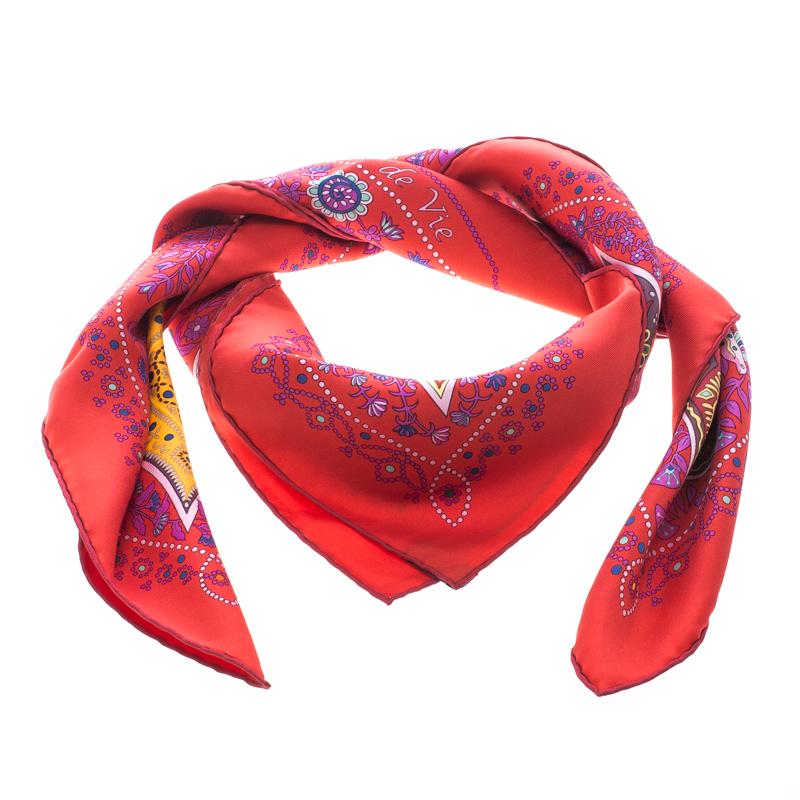 Hermes Red L'Arbre de Vie Printed Silk Square Scarf
