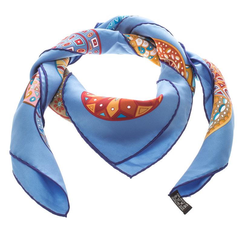 Hermes Blue Reves D'Escargots Printed Silk Square Scarf