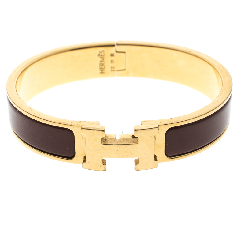 Hermes Clic Clac H Brown Enamel Gold Plated Narrow Bracelet Pm