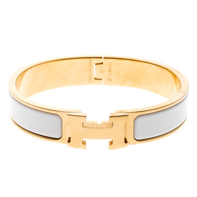 ... Hermes Clic Clac H White Enamel Gold Plated Narrow Bracelet PM.  nextprev. prevnext 01639a0b021