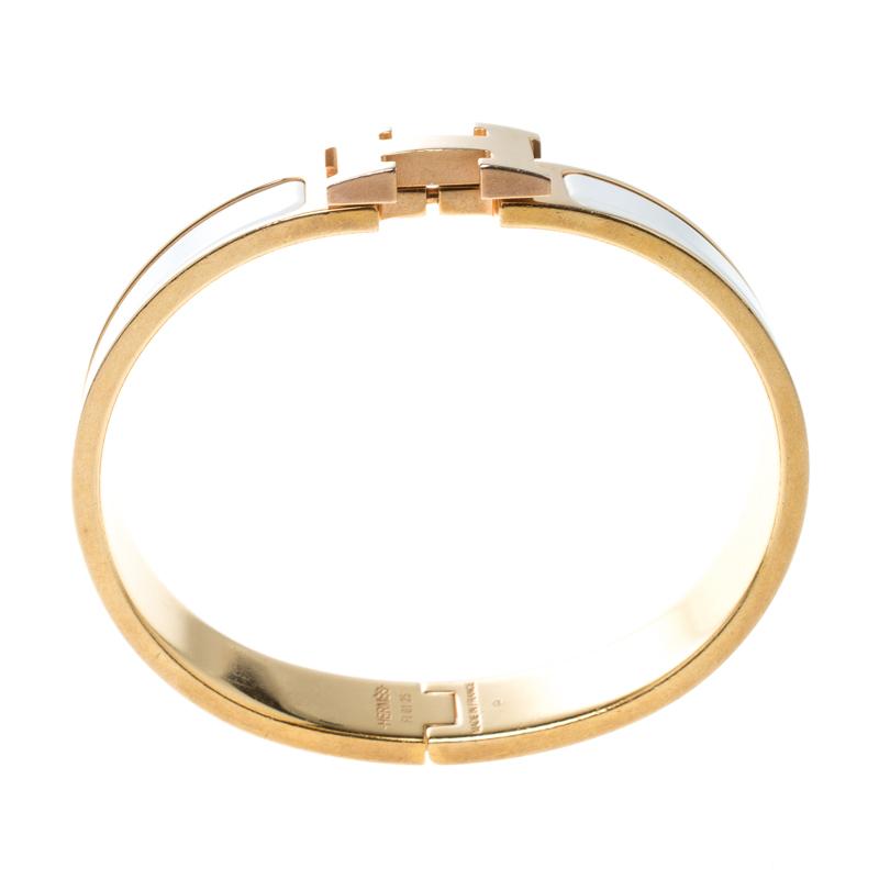 Hermes Clic Clac H White Enamel Rose Gold Plated Narrow Bracelet PM Hermes | TLC