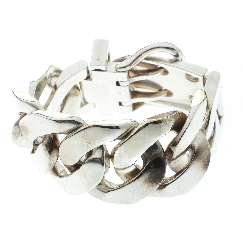 Hermes Boucle Sellier Silver Chain Link Bracelet TGM