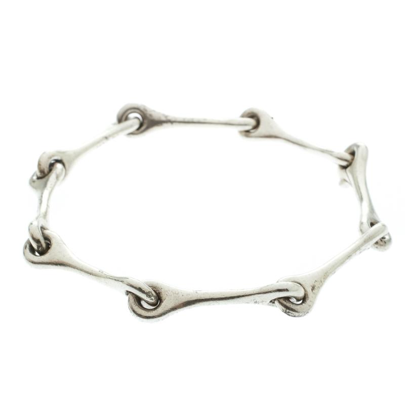 Hermes Elongated Link Silver Bracelet