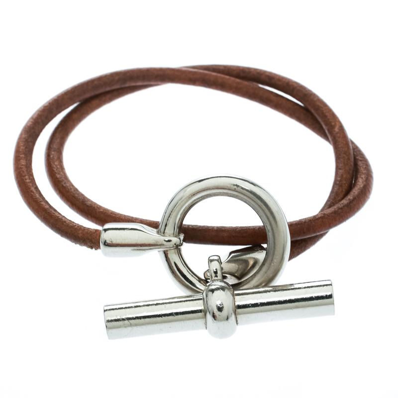 Hermes Glenan Brown Leather Double Wrap Toggle Bracelet