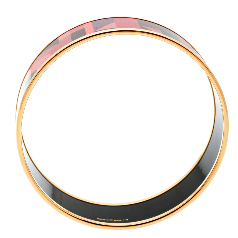 Hermes Perspective Cavaliere Multicolor Enamel Gold Plated Wide Bangle Bracelet