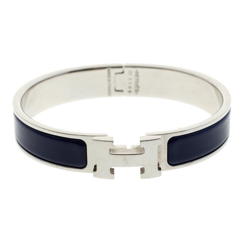 b4dcc2d352 ... Hermes Clic Clac H Blue Indigo Enamel Palladium Plated Narrow Bracelet  PM. nextprev. prevnext