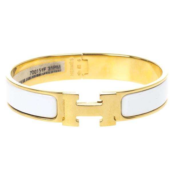 ... Hermes Clic Clac H White Enamel Gold Plated Bracelet. nextprev. prevnext fbf4ce7ee86