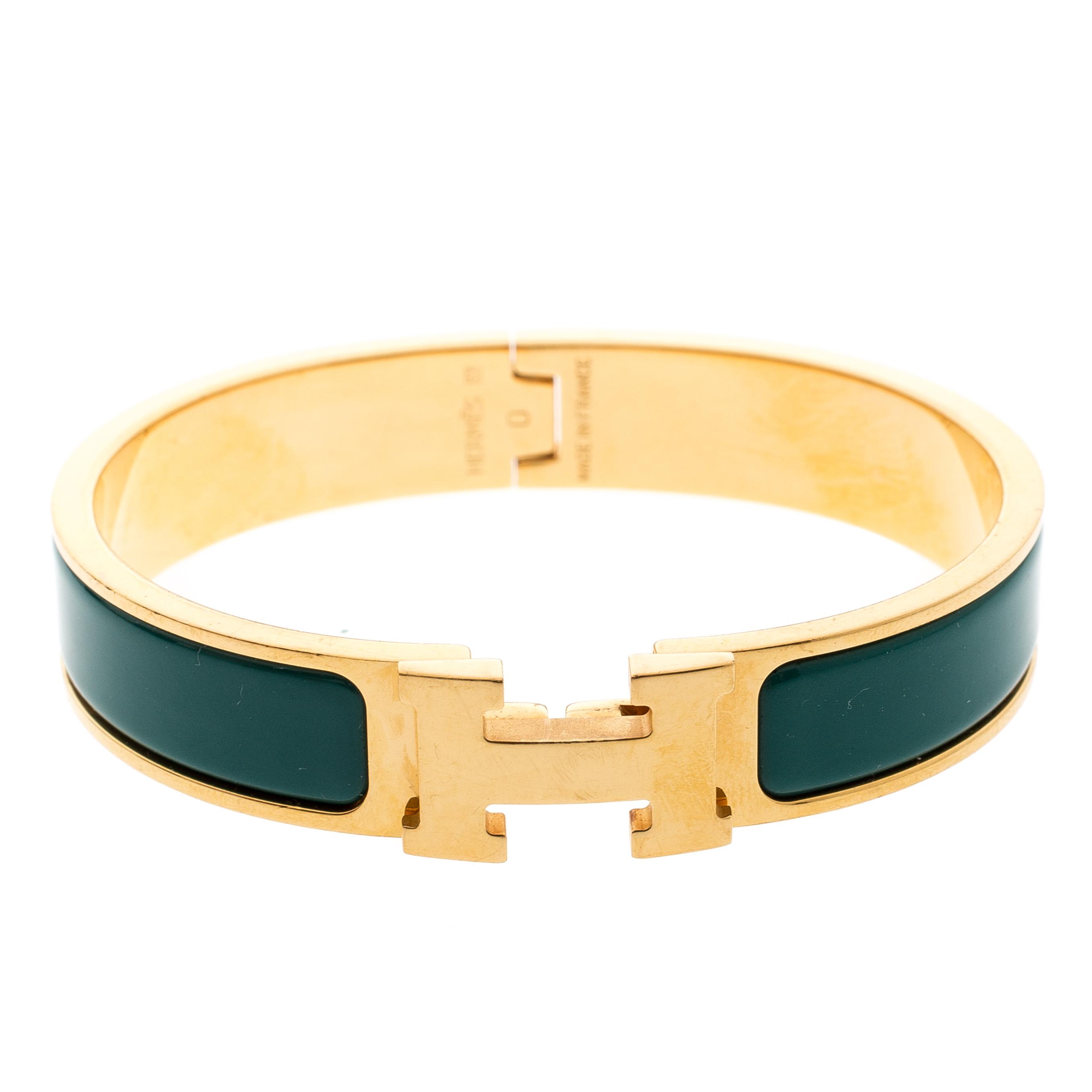 Hermes Clic Clac H Verona Green Enamel Gold Plated Narrow Bracelet Pm