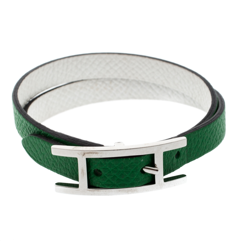Los Angeles 41823 fec6f Hermes Behapi Green and White Leather Reversible Double Tour Bracelet XS
