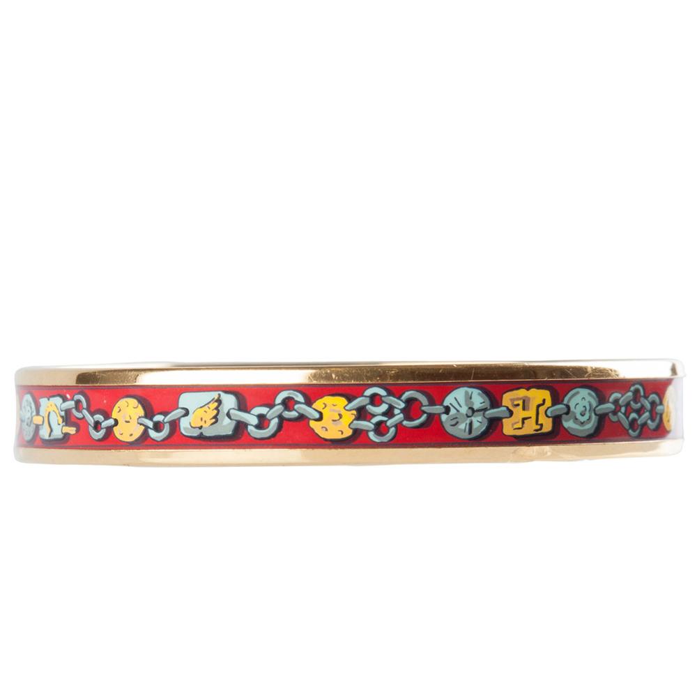 Hermes Multicolor Chain Print Enamel Gold Plated Narrow Bangle Bracelet