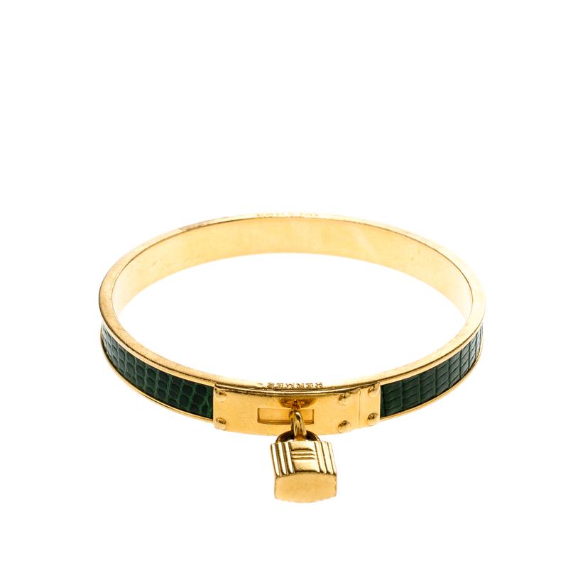 Hermes Kelly Lock Cadena Green Lizard Skin Gold Plated Bangle Bracelet