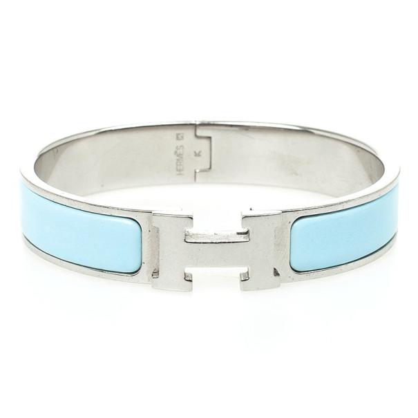 6514b6ef3a Buy Hermes Clic-Clac H Light Blue Palladium Plated Bracelet PM 23338 at  best price | TLC