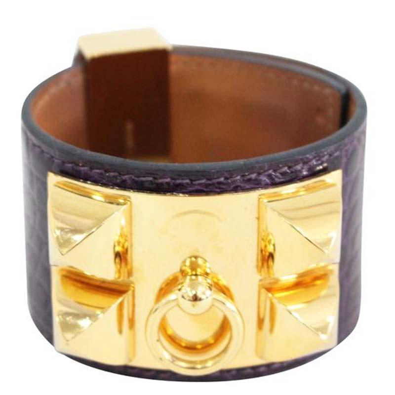 Hermes Collier De Chien Purple Croc Leather Gold Plated Cuff Bracelet