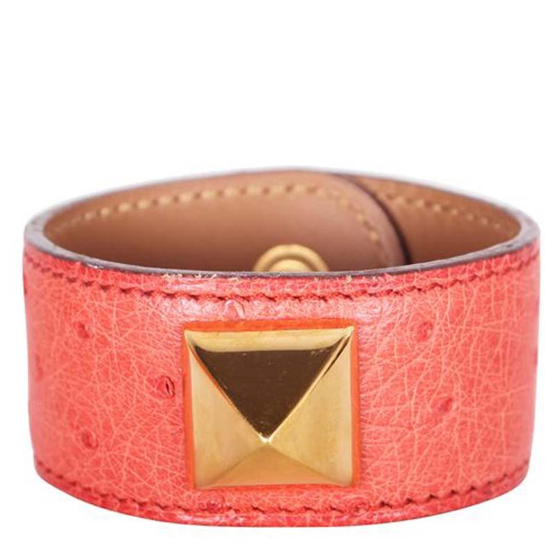 Hermes Medor Red Ostrich Leather Gold Plated Bracelet