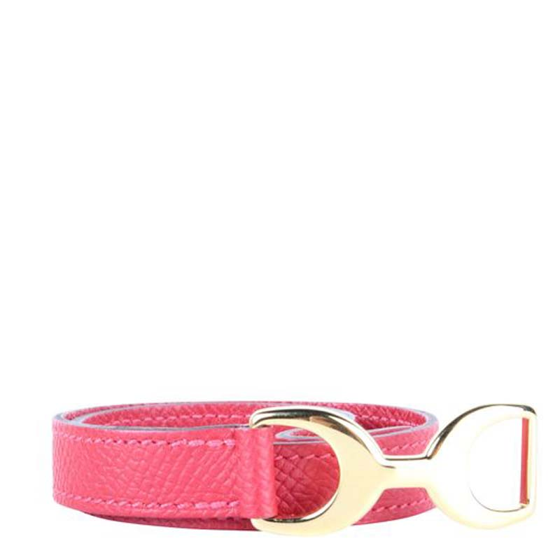 Hermes Double Tour Red Leather Gold Plated Bracelet