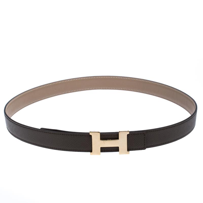 Hermes Grey Leather H Logo Constance Reversible Belt 85 CM