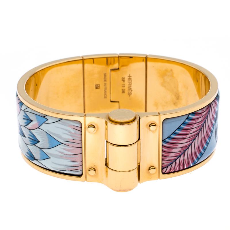 Hermès Gold Plated Savana Dance Enamel Hinged Bangle Bracelet