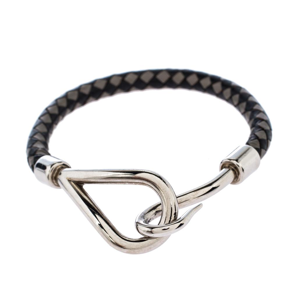Hermès Bicolor Braided Leather Palladium Plated Jumbo Hook Bracelet