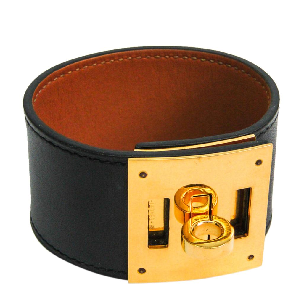 Hermes Kelly Dog Black Leather Gold Plated Wide Bracelet S