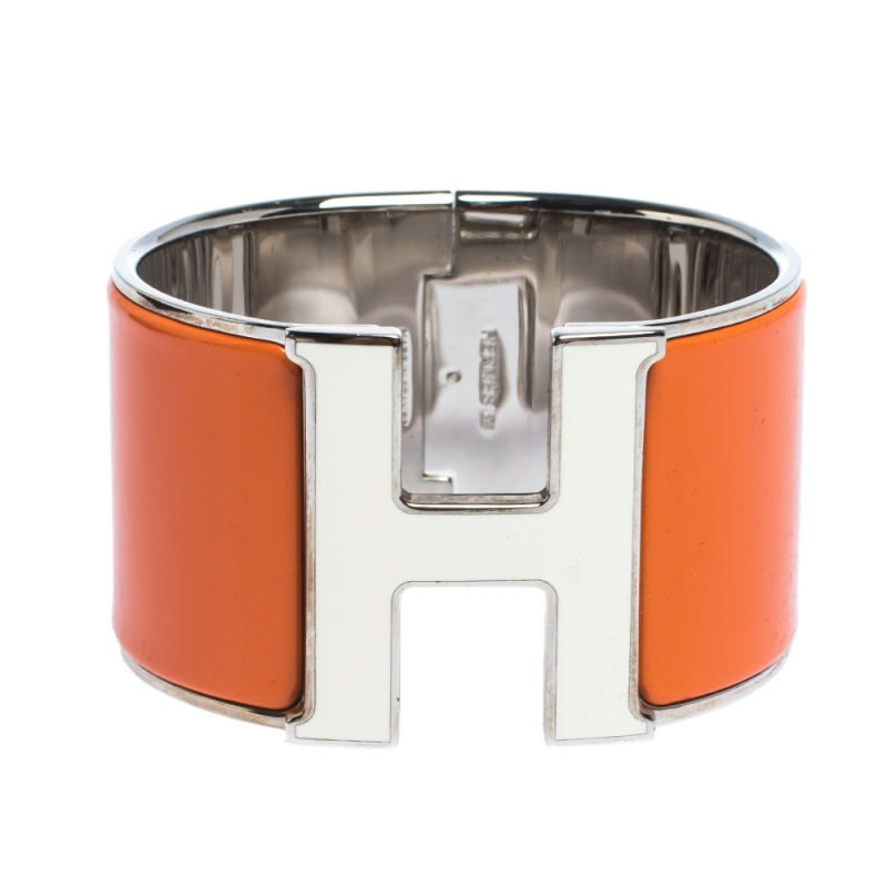 Hermes Clic Clac H Orange Enamel Palladium Plated Extra Wide Bracelet PM