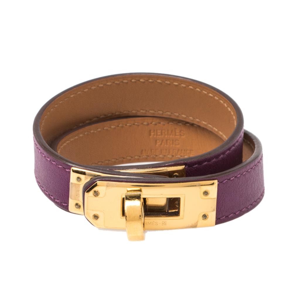Hermes Kelly Double Tour Purple Leather Bracelet S
