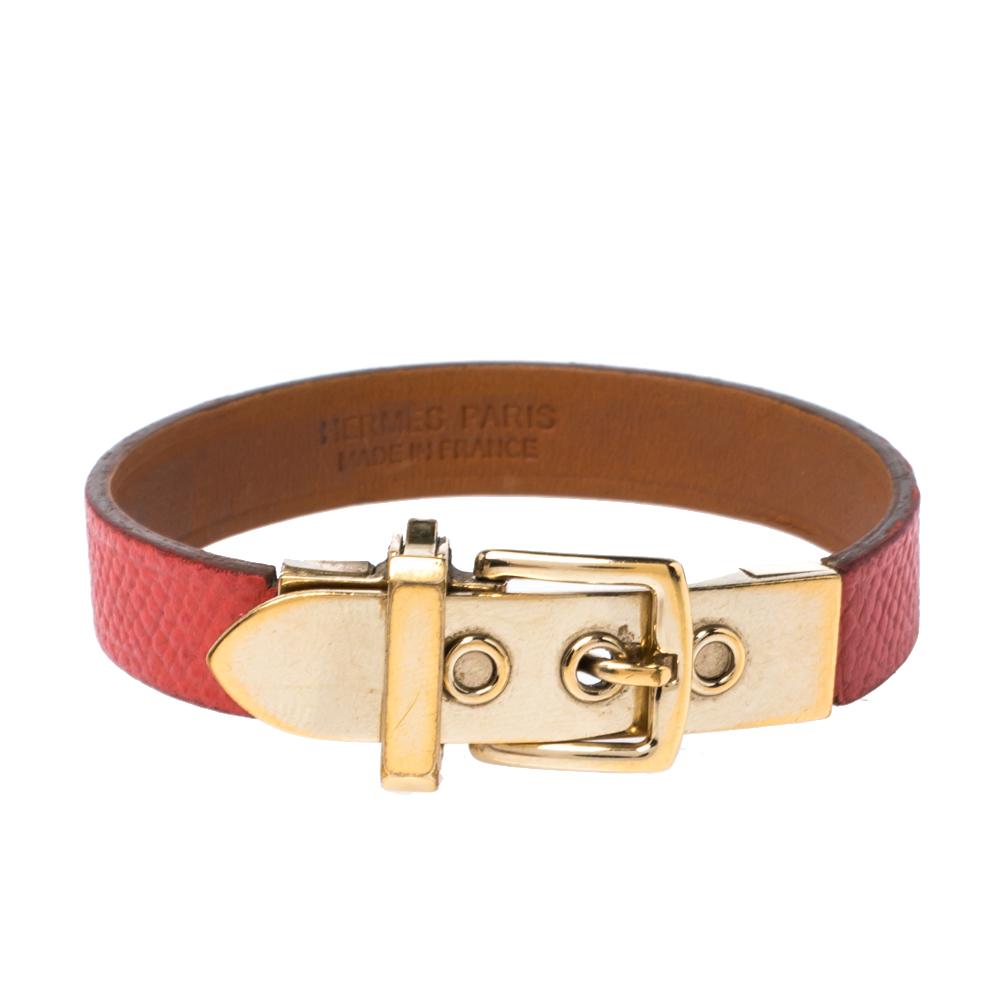 Hermès Java 10 Rose Jaipur Calfskin Gold Plated Bracelet S