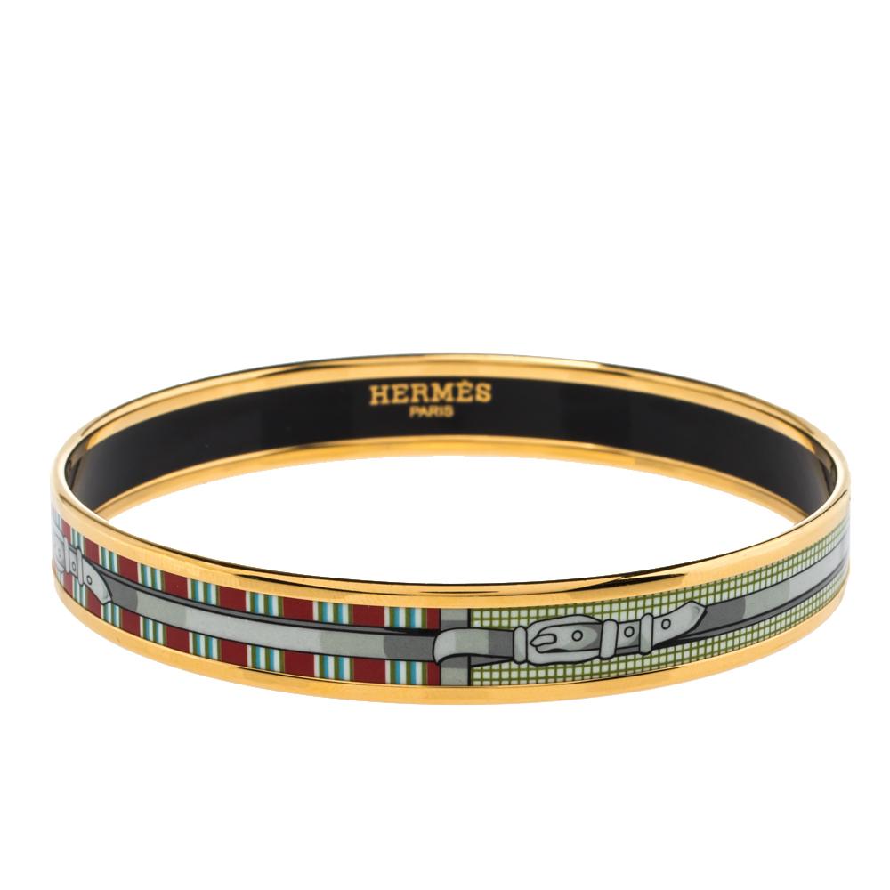 Pre-owned Hermes Multi Color Enamel Gold Plated Bangle Bracelet In Multicolor