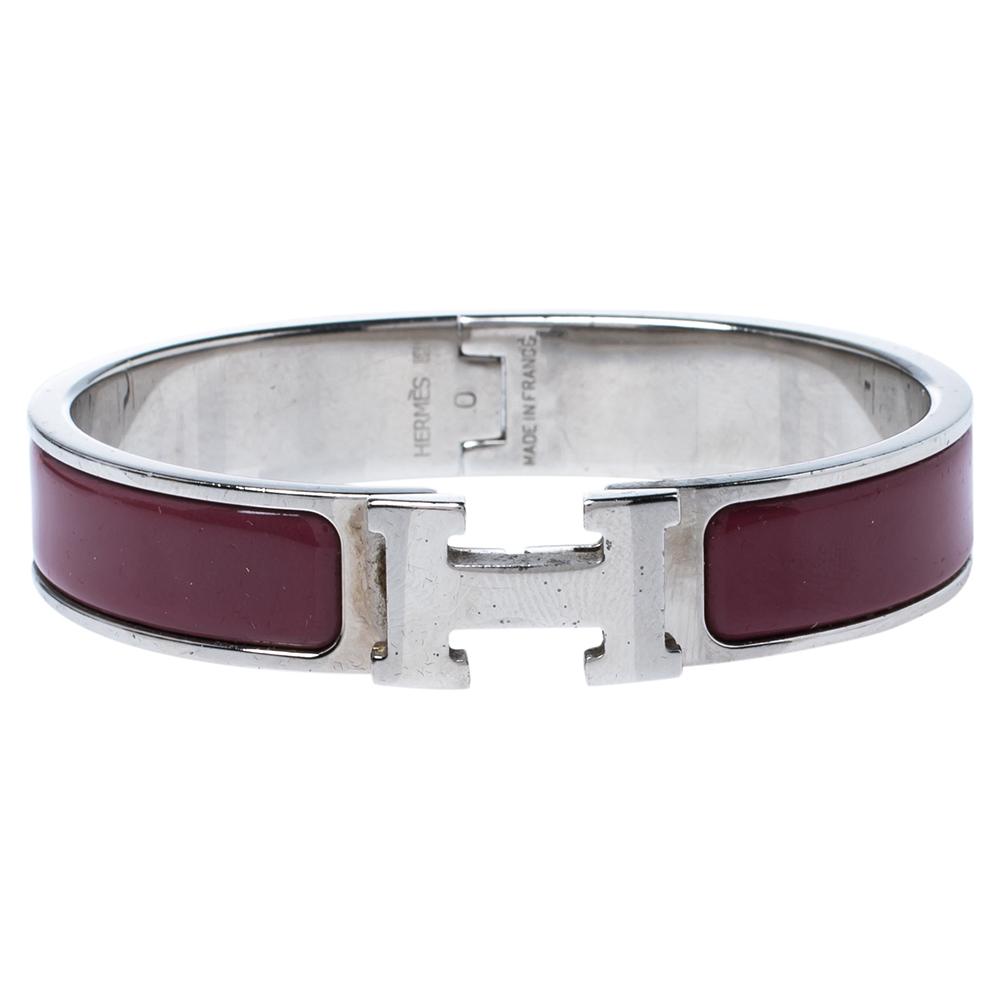 Hermes Clic H Rouge de Chine Palladium Plated Narrow Bracelet PM