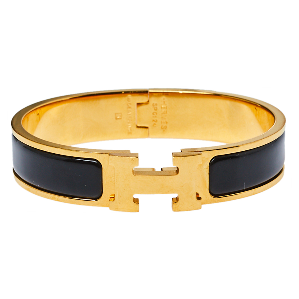 Pre-owned Hermes Hermès Clic H Black Enamel Gold Plated Narrow Bracelet Pm