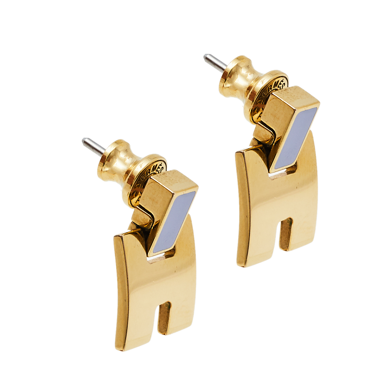 Hermès Gold Plated Grey Lacquer Eileen Earrings