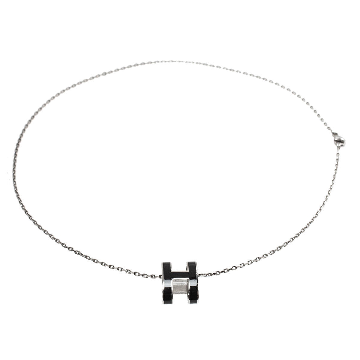 Hermès Black Lacquer Palladium Plated Pop H Pendant Necklace