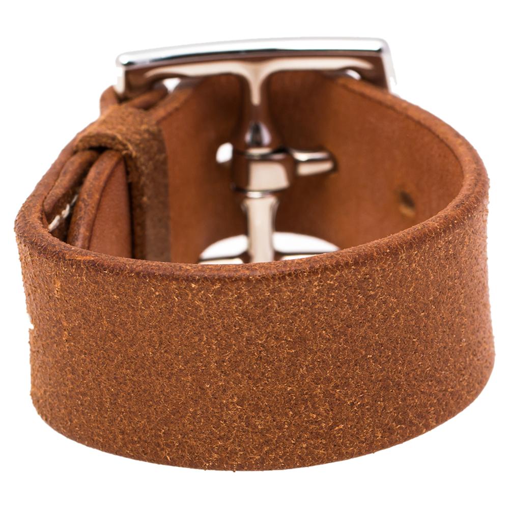 Pre-owned Hermes Brown Leather Etriviere Wrap Bracelet