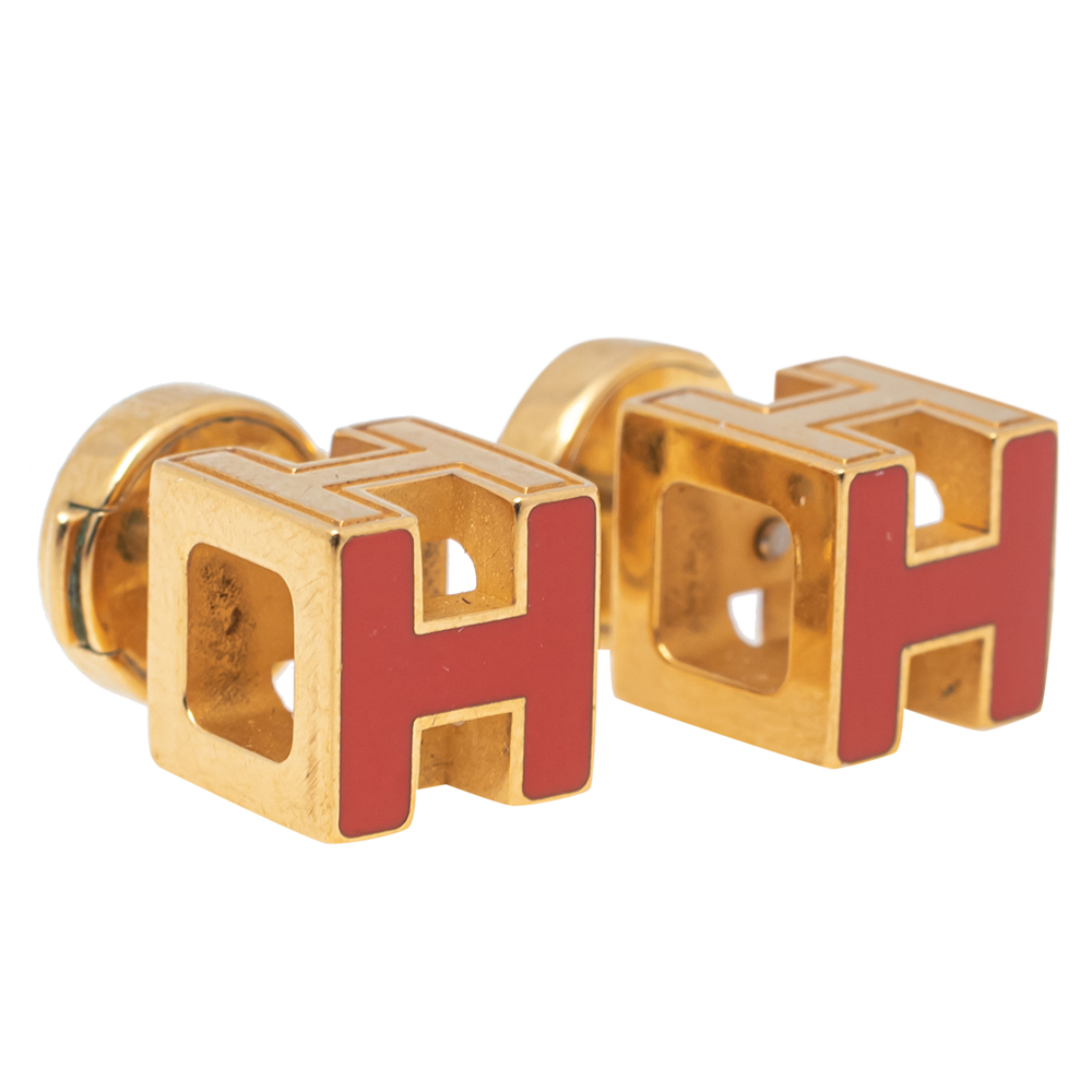 Hermes Cage d'H Gold Plated Red Lacquer Stud Earrings