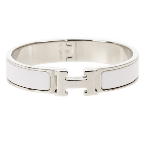 3b49b85db60 ... Hermes Clic Clac H White Enamel Palladium Plated Bracelet PM. nextprev.  prevnext