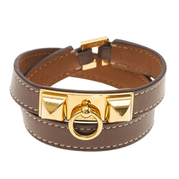 03ae8e5238b Buy Hermes Rivale Double Tour Brown Leather Bracelet 8543 at best ...