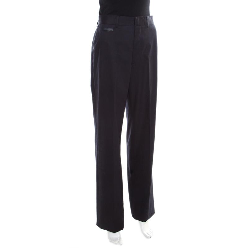 Hermes Navy Blue Cotton High Rise Wide Leg Trousers